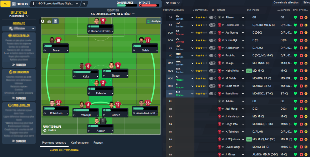 Tactique 4-3-3 Klopp par Larethian pour Football Manager 2021