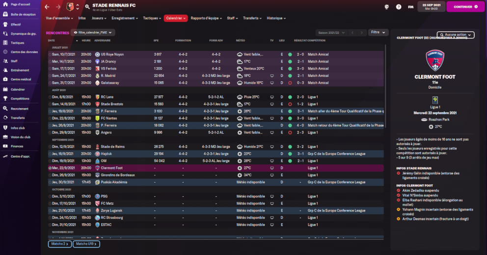 Calendrier Football Manager 2022